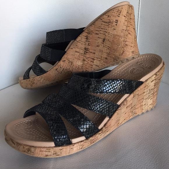 32b905880 CROCS Shoes - Crocs black leather strap cork wedges sandals cute
